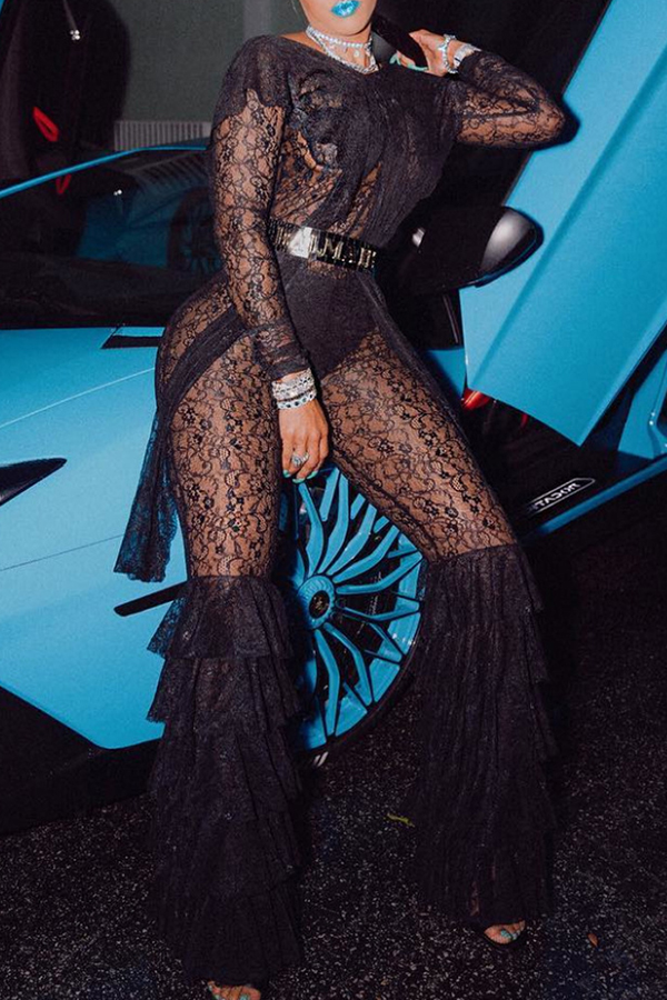 Lovely Trendy Flounce Design Black Lace One-piece  Jumpsuit(Without Belt ,Not Including Underwear)