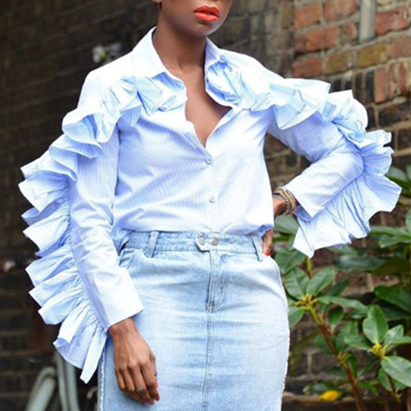 Lovely Sweet Flounce Design Baby Blue Blending Blouses