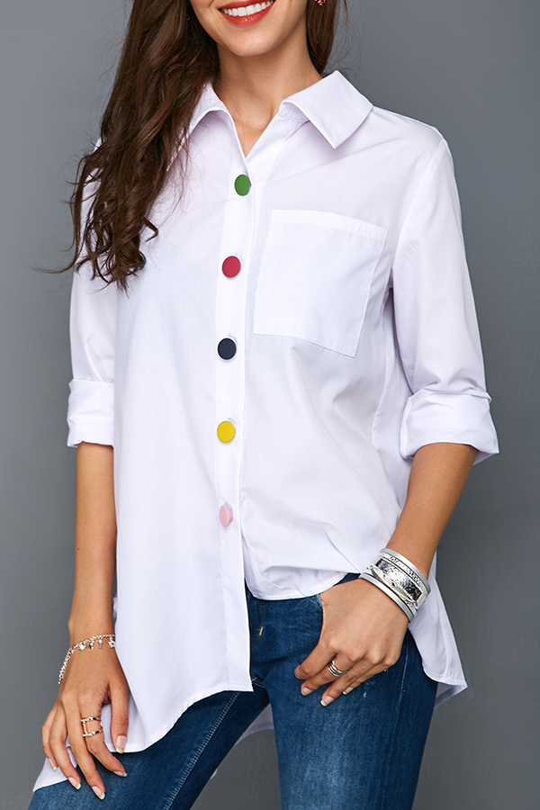 Lovely Casual  Buttons Decorative White Blouses