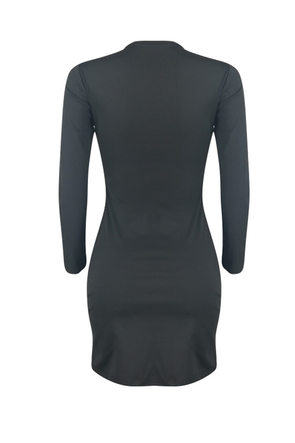 Lovely Sweet Long Sleeves Black Knee Length Dress