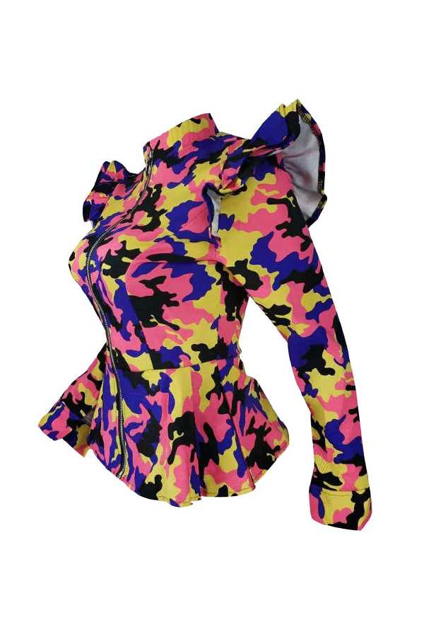 Lovely Casual  Camouflage Printed  Yellow Jacket