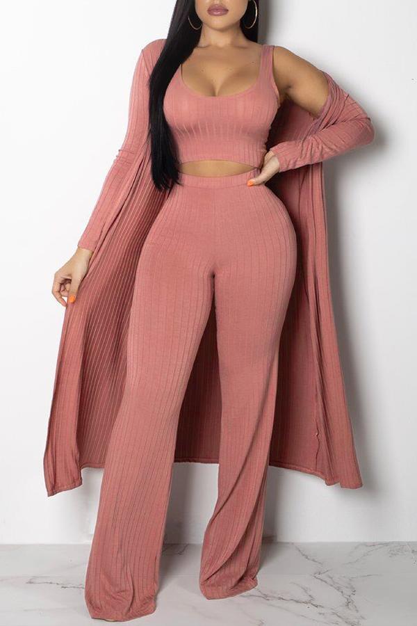 Precioso Conjunto De Pantalones De Dos Piezas De Algodón Rosado Con Cuello En U (con Abrigo)