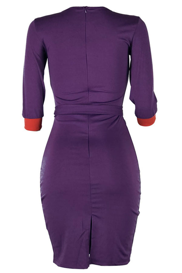 Lovely Casual Patchwork Slim Purple Knee Length Dress