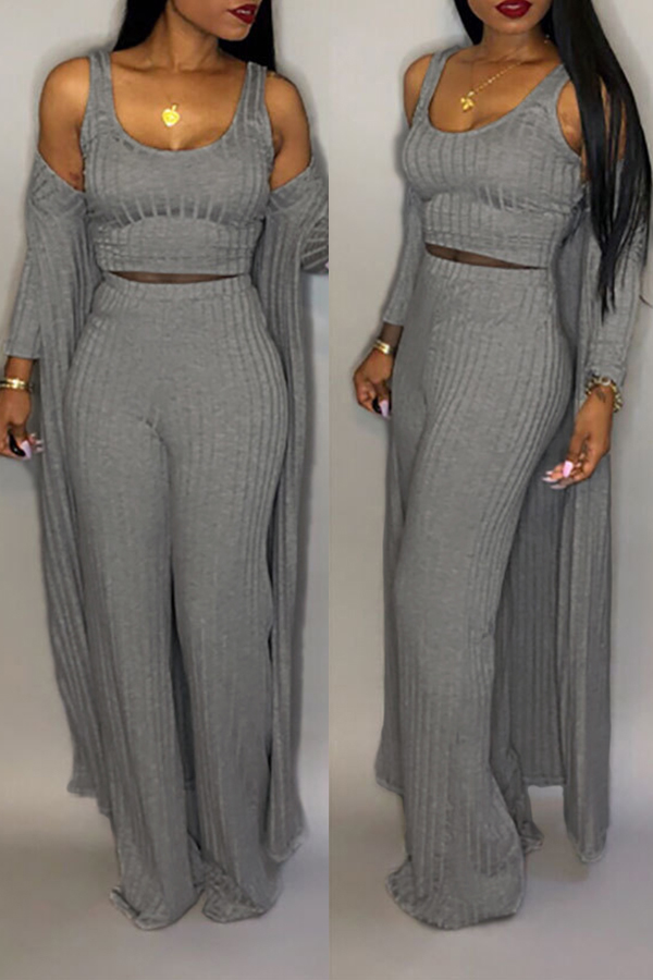 Precioso Conjunto De Pantalones De Dos Piezas De Cuello U Gris Casual (con Abrigo)