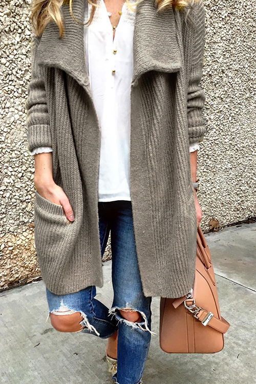 Lovely Casual Pockets Grey Cardigan Sweaters
