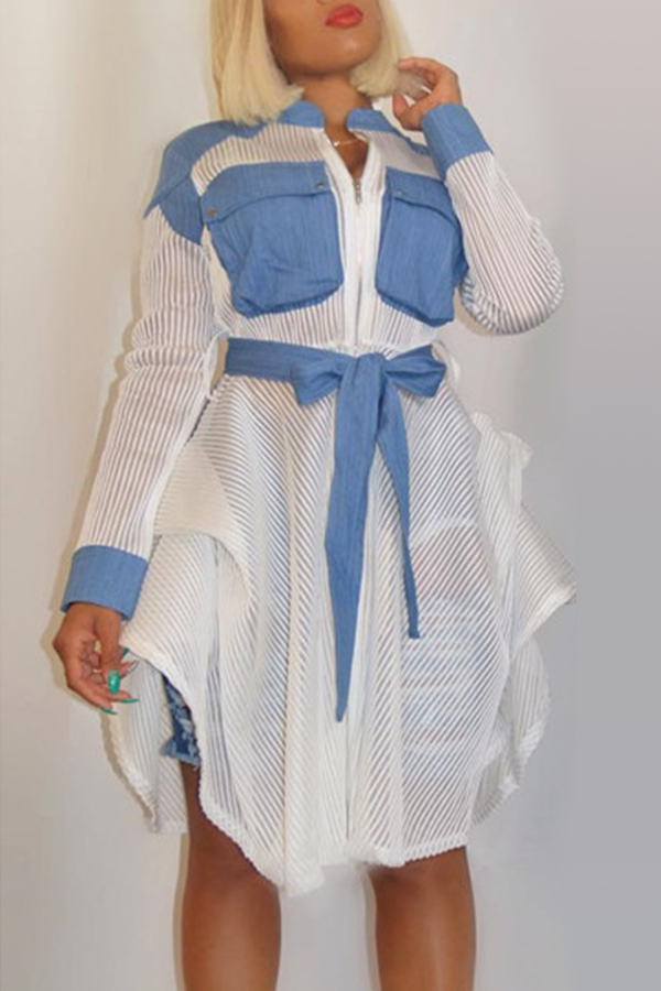 Lovely Casual Patchwork White Blouses