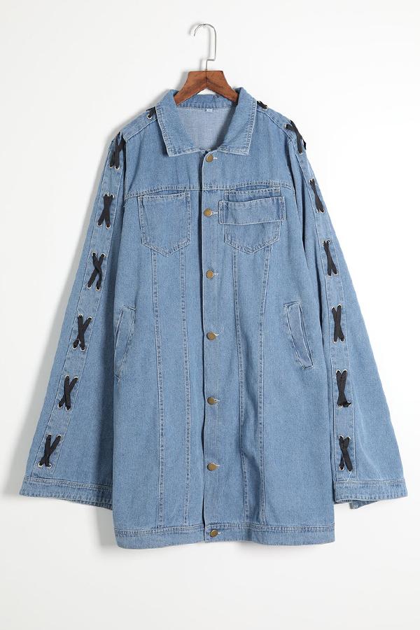 Lovely Casual Cloak Design Blue Denim Coat