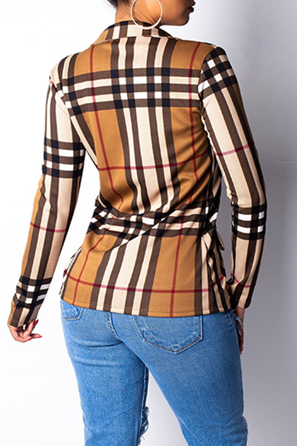 Lovely Casual Grids Printed Brown Knitting Coat