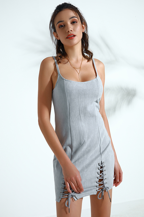 Lovely Trendy Lace-up Grey Faux Leather Mini Dress