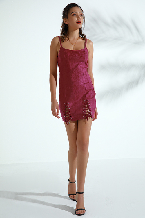 Lovely Trendy Lace-up Wine Red Faux Leather Mini  Dress