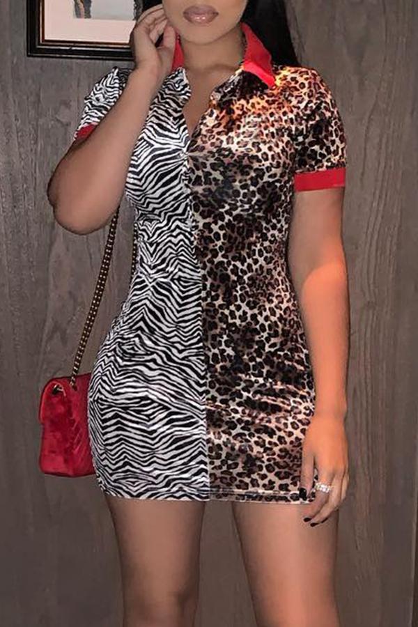 Precioso Mini Vestido De Leopardo De Retazos Ocasionales