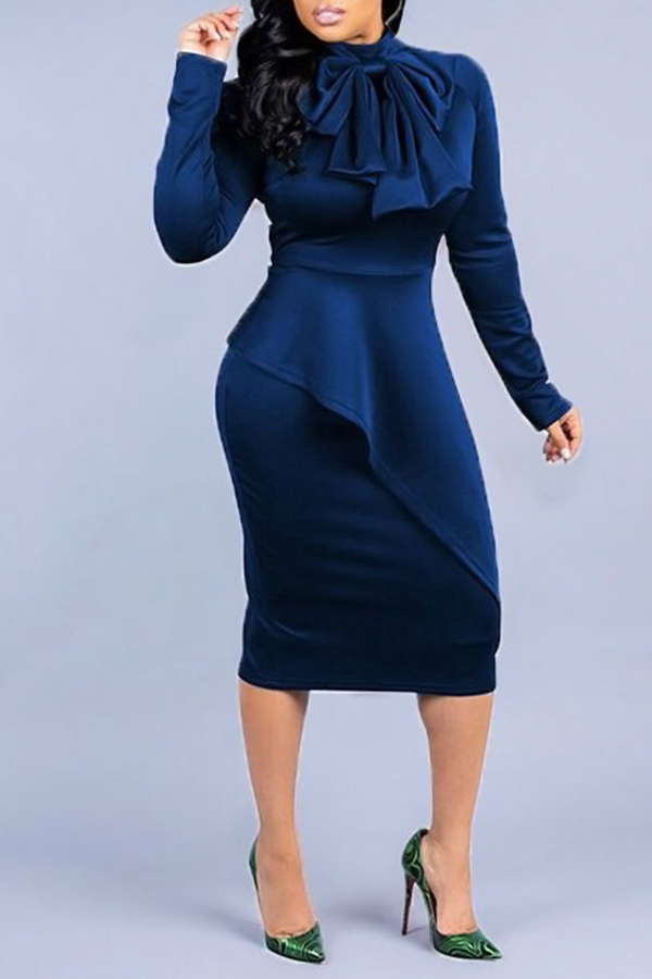 Lovely Elegant Long Sleeves Deep Blue  Mid Calf  Dress