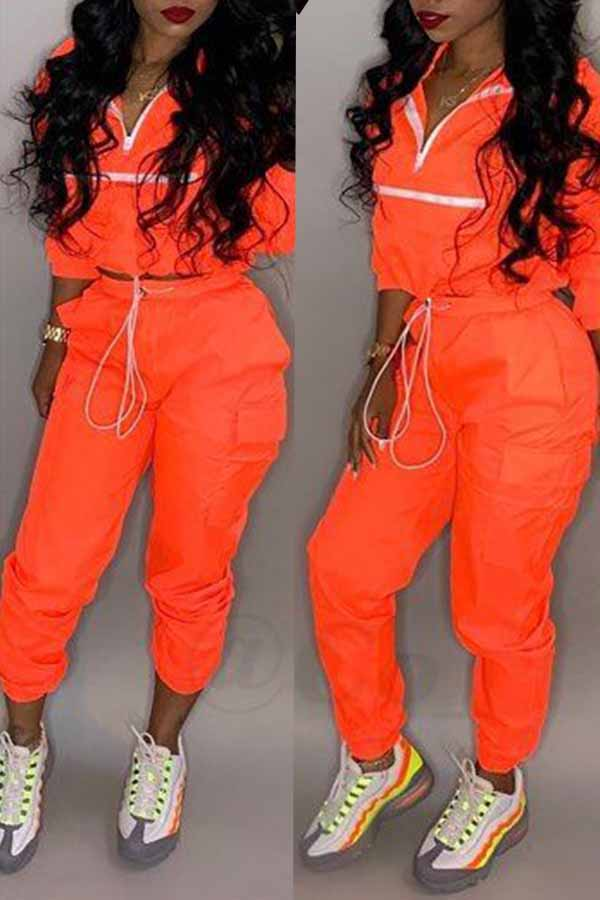 Lovely Trendy Patchwork Jacinth Two-piece Pants Set