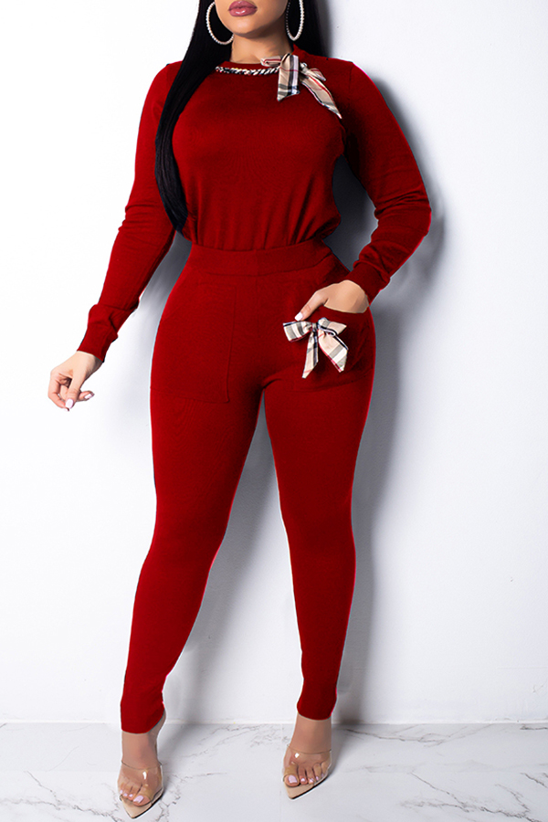 Lovely Casual  Bow-Tie Red Two-piece Pants Set