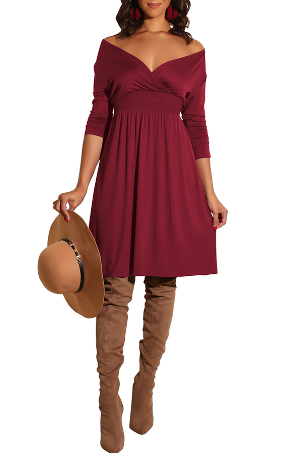 Lovely Casual Long Sleeves Wine Red Knee Length Dress