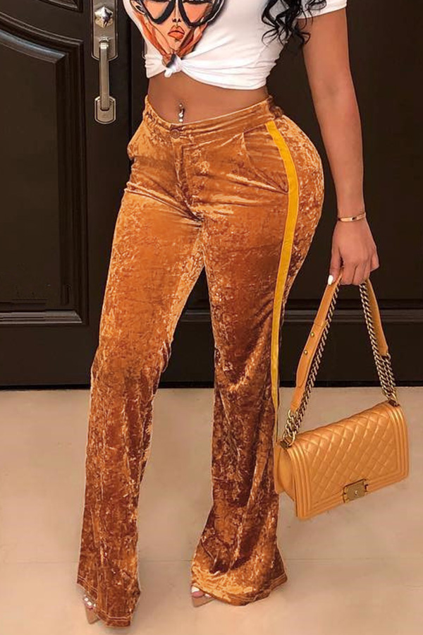 Lovely Casual Patchwork Gold Pants