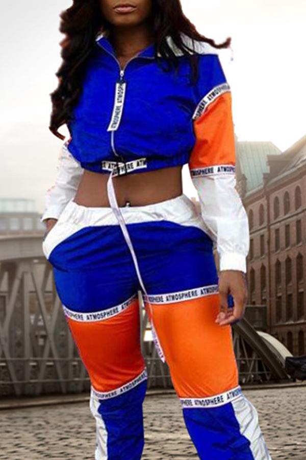 Precioso Conjunto De Pantalones De Dos Piezas De Mezcla Multicolor De Patchwork Informal