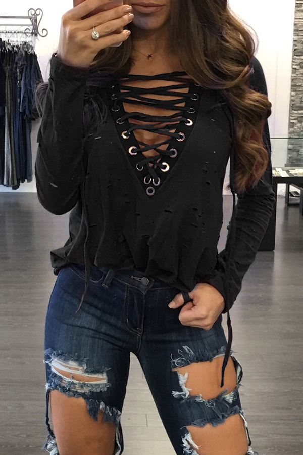 Lovely Casual Lace-up Black Cotton Blouses