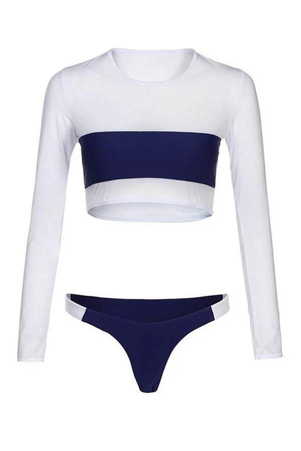 Lovely Trendy Patchwork Dark Blue Two-piece Swimwear
