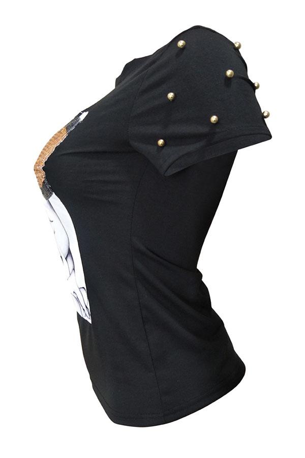 Preciosa Camiseta Decorativa De Lentejuelas Con Mezcla Negra.