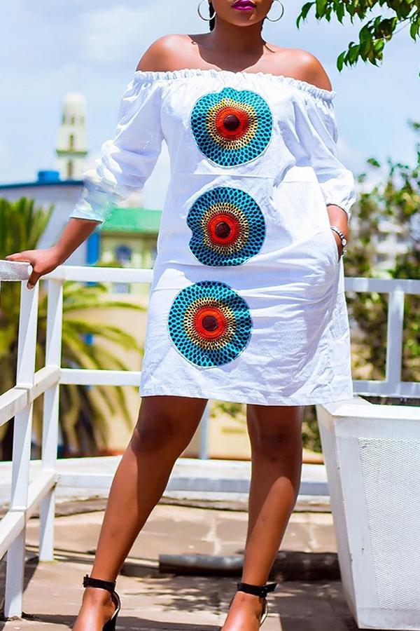 Lovely Trendy  Dew Shoulder White Knee Length Dress