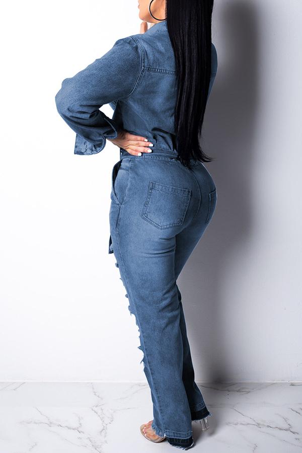 Lovely Casual Broken Holes Blue Denim One-piece Jumpsuit