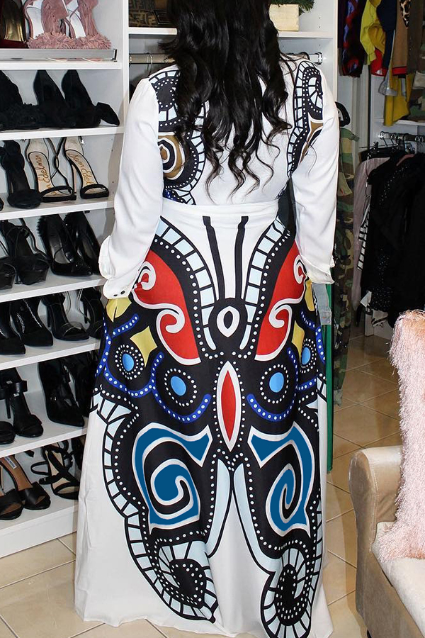 Lovely Casual Printed Loose White Blending Floor Length Dress