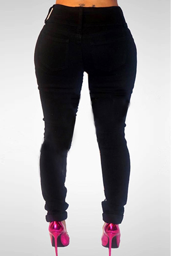 Lovely Stylish High Waist Sequined Decorative Black Denim Jeans