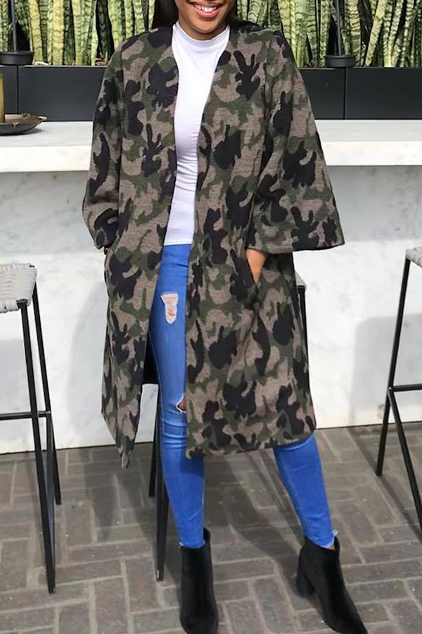 Lovely Casual Camouflage Printed Grey Blending Coat
