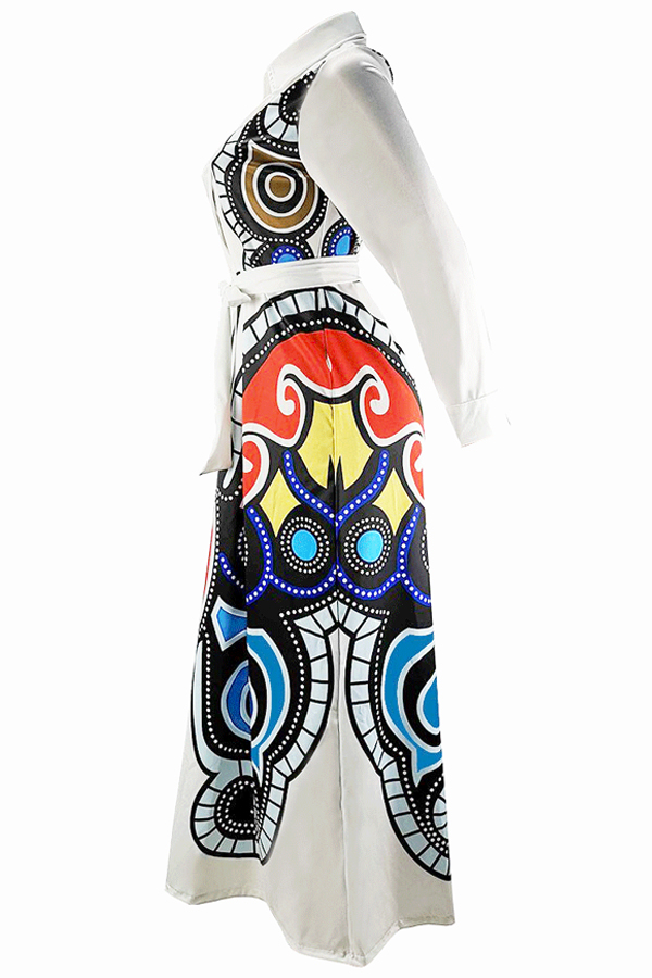 Lovely Casual Printed Loose White Blending Floor Length Dress