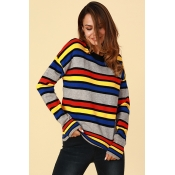 Lovely Chic Color Striped Sweaters