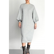 Lovely Casual Puffed Sleeves Grey Cotton Mid Calf
