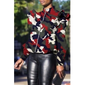 Lovely Casual  Camouflage Printed  Wine Red Jacket