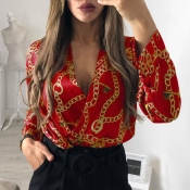 Lovely Trendy Printed Red Cotton Blends  Bodysuit