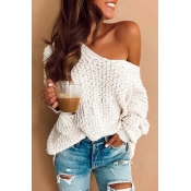 Lovely Casual Long Sleeves White Sweaters