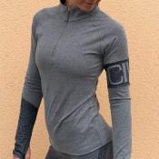 Lovely Sportswear Light Grey Knitting Blouses
