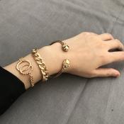 Lovely Punk  Skull Gold Metal Bracelet(Three Piece