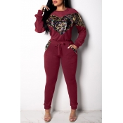 Lovely Casual Patchwork Wine Red Cotton Two-piece Pants Set