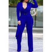 Lovely Trendy Asymmetrical Blue Knitting One-piece