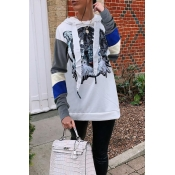 Lovely Casual Patchwork White Twilled Satin Hoodie