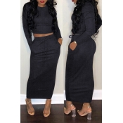 Lovely Casual Long Sleeves Blue Cotton Two-piece Skirt Set