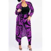 Lovely Casual Printed Purple Blending Two-piece Pants Set(Without T-shirt)