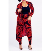 Lovely Casual Printed Red Blending Two-piece Pants Set(Without T-shirt)