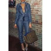 5263c76c1f14d Lovely Casual Zippers Design Blue Denim One-piece Jumpsuit