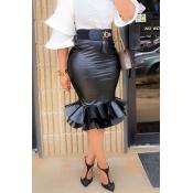 Lovely Sweet Flounce Design Black PU Knee Length S