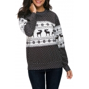 Lovely Casual Animal Printed Long Sleeves Black T-