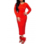 Lovely Elegant Hot Drilling Decorative Red Twilled Satin Mid Calf  Dress