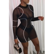 Lovely Sexy See-through Black Knee Length Dress (W