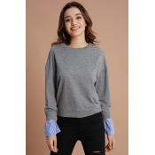 Lovely Trendy Patchwork Grey Cotton Hoodies