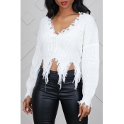 Lovely Casual Tassel Design  White Blending Sweate
